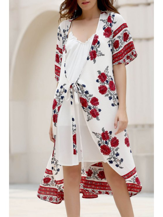 Floral Print Plongeant Neck Half Robe en mousseline de soie à manches - Blanc L