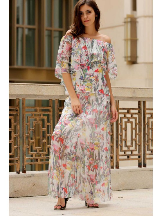52893fd605a 27% OFF  2019 Floral Round Neck Half Sleeve Chiffon Maxi Dress In ...