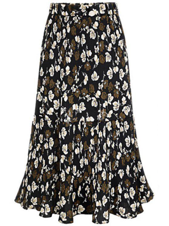 Una línea de Falda plisada floral completa - Negro 2XL