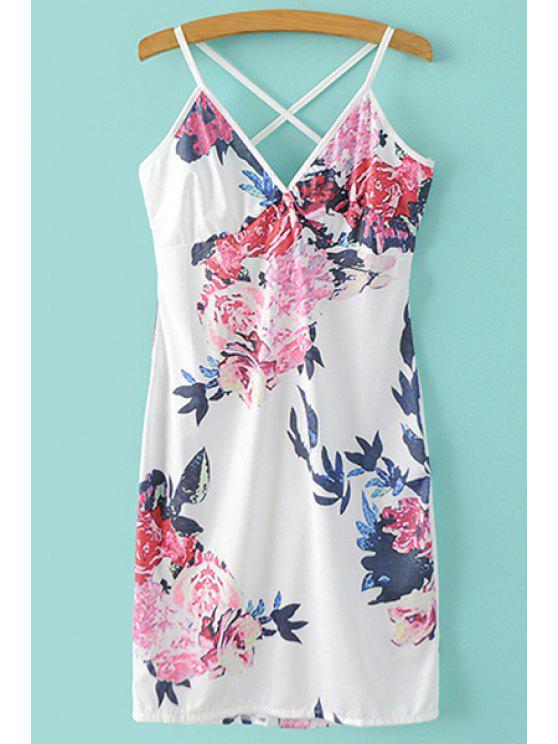 Mini vestido de la impresión floral de las correas de espagueti - Blanco XL