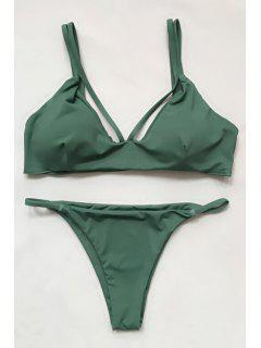 Women High-Cut Green Bikini Set - Green L