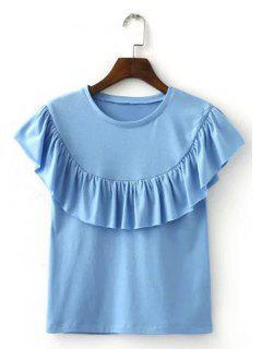 Moda Del Volante Cuello Redondo Camiseta Pura Del Color De Las Mujeres - Azul Claro S