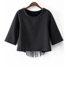 Black Tassels Cut Out Round Neck Half Sleeve T-Shirt - Black M