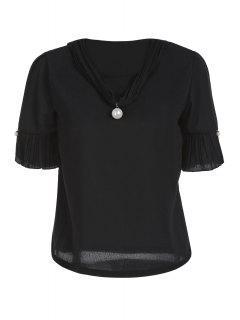 Pearl Embellished V Neck Short Sleeve T-Shirt - Black