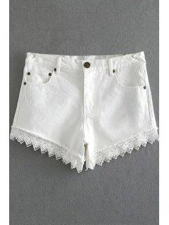 Fitted Lace Hook High Waist Denim Shorts - White Xl