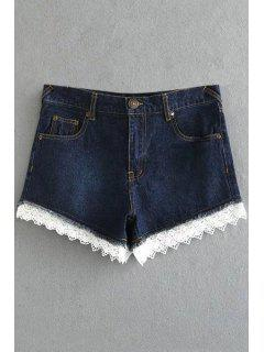 Fitted Lace Hook High Waist Denim Shorts - Deep Blue L