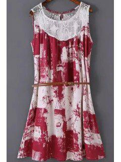 Printed Lace Spliced Round Neck Sleeveless Dress - Red L