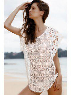 Cut Out Scoop Neck Cover-Up - White L