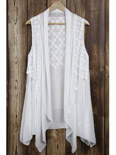 Lace Splice Tassels Turn Down Collar Waistcoat - White