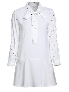 Vestido De Lunares Con Manga Larga Con Nudo  - Blanco