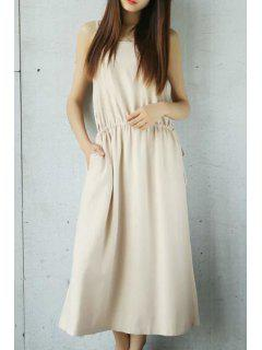 Loose Solid Color Cami Sleeveless Dress - Off-white