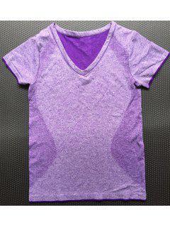 Brief V Neck Manches Courtes Couleur Sport T-Shirt Solide Pour Les Femmes - Pourpre  M