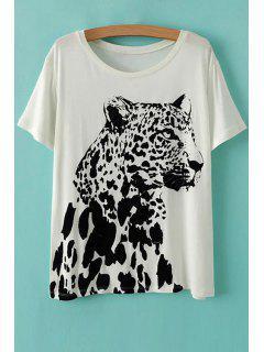 Leopard Patrón Cuello Redondo Manga Corta De La Camiseta - Blanco M