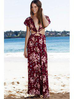 Haute Slit Plongeant Neck Floral Print Maxi Dress - Rouge L