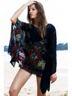 Batwing Sleeve Floral Chiffon Blouse - Black