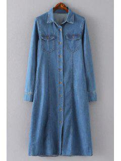 Blue Denim Turn Down Collar Long Sleeve Shirt Dress - Blue Xl
