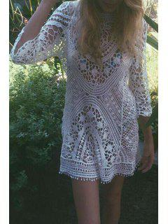 3/4 Sleeve Hollow Out Crochet Cover-Up - White