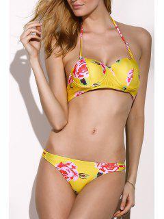 Impresión De La Flor Sin Tirantes Del Bikini Set - Amarillo L