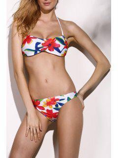 Fleur Imprimer Bustier Ensemble Bikini - M