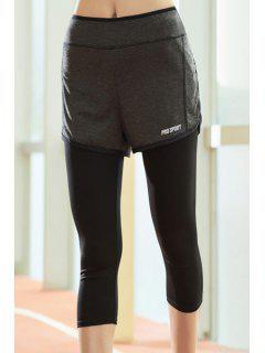 Chic Taille Haute Faux Deux Pantalons Piece Capri Sport Pour Les Femmes - Noir L