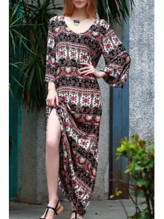 Ethnic Print Floor-Length Dress - M