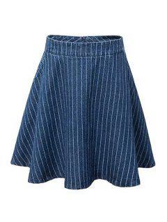 Striped Taille Haute En Jean Flare Jupe - Bleu M