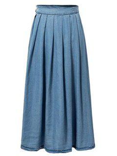 Light Blue High Waist Denim Skirt - Light Blue S
