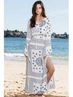 Haute Slit Bleu Et Blanc Maxi Dress - Blanc Xl
