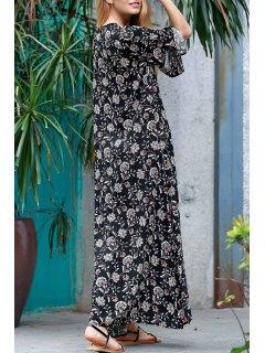 Robe Maxi Imprimée Florale Partout - Noir M