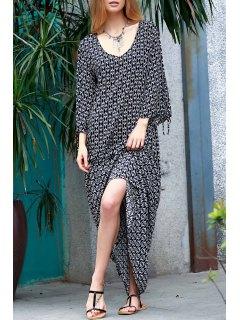 Printed Split Sleeve Floor-Length Dress - White And Black M