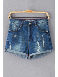Broken Hole Bleach Wash High Waist Denim Shorts - Deep Blue 2xl