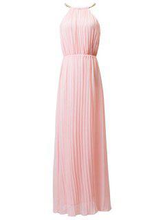 Pleated Round Neck Sleeveless Prom Dress - Pink L