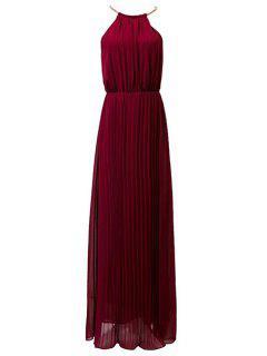 Plisado Cuello Redondo Sin Mangas Vestido De Fiesta - Vino Rojo L