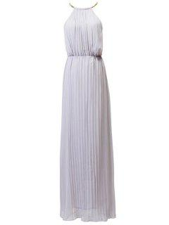 Pleated Round Neck Sleeveless Prom Dress - Gray L