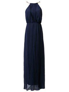 Pleated Round Neck Sleeveless Prom Dress - Purplish Blue L