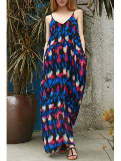 Abstract Print Maxi Slip Tunic Dress - M