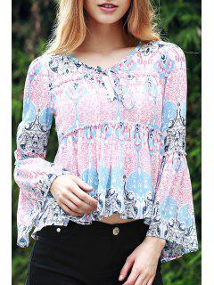 Bell Sleeve Printed Trapeze Top - Blue And Pink L
