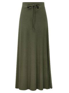 Side Vent Solid Color Long Skirt - Green 2xl
