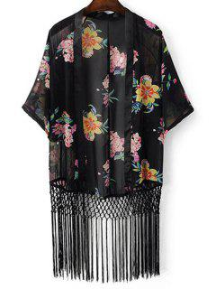 Floral Print Batwing Sleeve Tassels Spliced Blouse - Black M