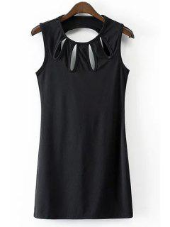 Solid Color Hollow Out Jewel Neck Sleeveless Dress - Black S