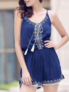 Casual Spaghetti Strap Sleeveless Embroidery Elastic Waist Romper For Women - Purplish Blue M