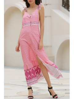 Ethnic Print V Neck Sleeveless Slit Maxi Dress - Xl