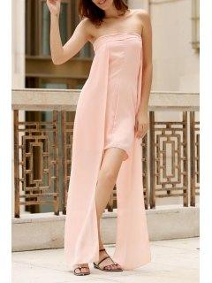 Asymétrique Chest Enveloppé Robe Couleur Unie - Rose PÂle M