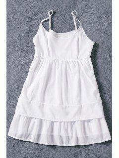 White Cami Chiffon A Line Dress - White Xl