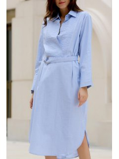Bowknot Solid Color Turn-Down Collar Long Sleeve Dress - Light Blue M