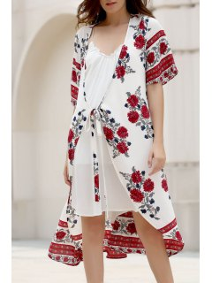 Floral Print Plunging Neck Half Sleeve Chiffon Dress - White L