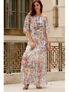 Floral Round Neck Half Sleeve Chiffon Maxi Dress - M