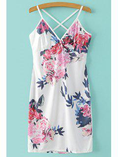 Mini Floral Print Spaghetti Straps Dress - White Xl