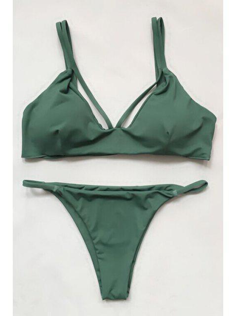 affordable Women High-Cut Green Bikini Set - GREEN M Mobile