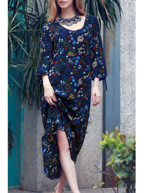 unique Split Sleeve Floral Print Boho Dress - BLUE M Mobile